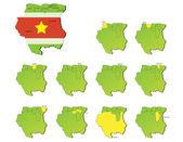 Suriname provinces maps — Stock Vector