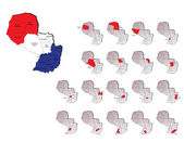 Paraguay provinces maps — Stock Vector