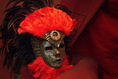 Decorative mask with feathers — Stock Photo