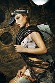 Beautiful woman - female construction worker — Stock Photo