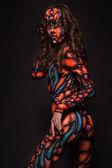 Freak girl in the aerography costume posing — Stock Photo