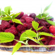 Basket with raspberries — Stock Photo