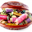 Basket with threads — Stock Photo