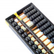 Chinese abacus with antique Chinese coins — Photo