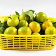 Stock Photo: Thai mandarin orang on yellow basket