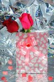 Valentine. Valentines Hearts, Rose Flower and Gift Box — Stock Photo