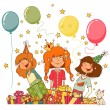 Girl's party — Stock Vector