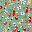 Summer vector seamless pattern with cherry, bees, butterfly and flower — Stock Vector