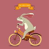 Trip. happy bunny jezdí jeho oranžové kolo, ilustrace — Stock vektor