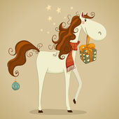 Festive white horse. — Stock Vector