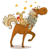 Cartoon horse and bunny. Winter. — Stock Vector