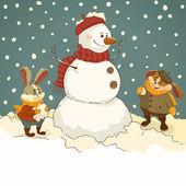 Snowman and bunnies. — Stock Vector