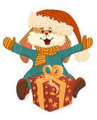 Joyful rabbit with gift boxes. — Stock Vector