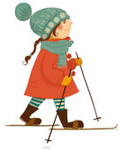 Little girl goes is skiing. — Stock Vector