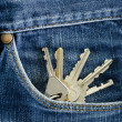 Keys in a pocket of jeans. — Stock Photo