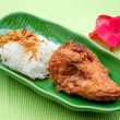 Fried Chicken with onion and Sticky rice — Stock Photo
