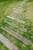 Passarela de madeira velha na grama no jardim. — Fotografia Stock