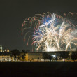 Poland, Krakow Skyline, Wawel Castle, Fireworks — Stock Photo