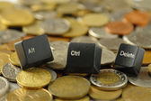 Ctrl, alt, del Computer Keys and Coins — Stock Photo