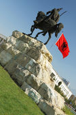 Tirana, Albania, Skanderbeg Monument and National Flag — Stock Photo
