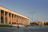 Tirana, Albania, Opera House at Skanderbeg Square, at Dusk — Stock Photo