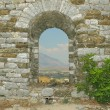 Skyline of Gjirokaster, Albania, seen through the Citadel Window — Stock Photo