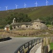 Spain, Asturias, Wind Turbines and Ancient Church — Stock Photo