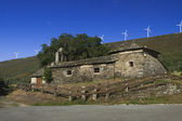 Spain, Asturias, Wind Turbines and Ancient Church — Foto Stock