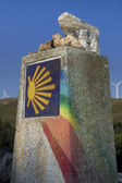Spain, Galicia, Camino de Santiago Milestone — Stock fotografie