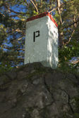 Boundary Stone, Poland, Slovakia, Szafranowka Mountain — Stock Photo