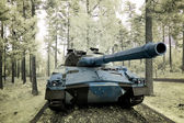 Tank in woods — Stock Photo