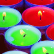 Stock Photo: Red and green tealights in closeup