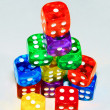 Stacked colored dice — Stock Photo