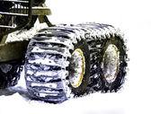 Snowy wheels — Stock Photo