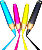 Colored cmyk pencils — Stock Photo