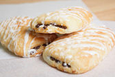 Fresh baked chocolate croissants — Stock Photo