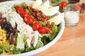 Bouchent la vue de copieuse salade cobb — Photo