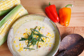 Bowl of hearty warm delicious corn chowder — Stock Photo