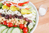 Market fresh chef salad with an assortment of vegetables and legumes served with ranch dressing — Stock Photo