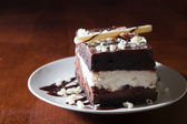 Rich and decadent tuxedo mousse cake — Stock Photo