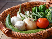 Top down look at late summer fresh vegetables — Stock Photo