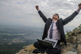 Businessman with Computer Nature Raising Hands Succes Concept — Stock Photo