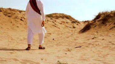 Desert Scene as Man Walks — Stock Video