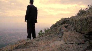 Businessman Raising Hands City Top Success Business Concept — Stock Video