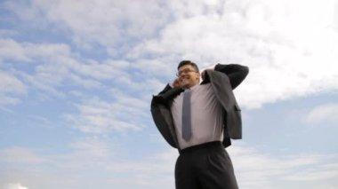 Business Blue Sky Success Celebrate Young Businessman — Stock Video