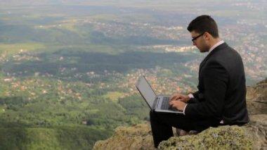 Happy Young Man in Suit Computer Joy Work Success — Stock Video
