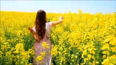 Female Model in Vintage Dress Walking Field Touching Grass HD — Stock Video