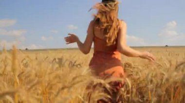 Young Beautiful Woman Running Wheat Field Freedom Nature Concept — Stock Video