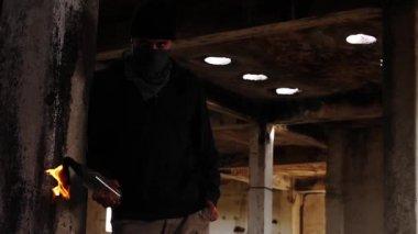 Assassin Gangster Threat Bomb Molotov — Stock Video