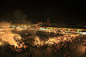 Bustling square in Marrakech at night — Stock Photo